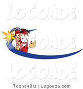 Logo of a Dynamite Mascot Cartoon Character Logo with a Blue Swish by Toons4Biz