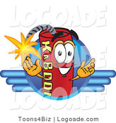 Logo of a Dynamite Mascot Cartoon Character Logo with Blue Lines by Toons4Biz