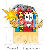 Logo of a Dynamite Mascot Cartoon Character with a Tan Label with the Fuse Lit by Toons4Biz
