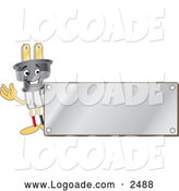 Logo of a Electric Plug Mascot with a Silver Plaque by Toons4Biz