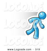 Logo of a Fast Light Blue Business Man Running Right by Leo Blanchette