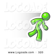Logo of a Fast Lime Green Business Man Running by Leo Blanchette
