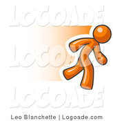Logo of a Fast Orange Business Man Running to the Right by Leo Blanchette