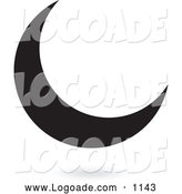 Logo of a Floating Black Crescent Moon Logo by Cidepix