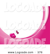 Logo of a Fluttering Pink Butterfly Above Two Hearts on Waves of Pink and White, Around White with Space for Text or a Business Name by KJ Pargeter