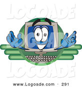 Logo of a Friendly and Smiling Desktop Computer Mascot Cartoon Character Logo by Toons4Biz