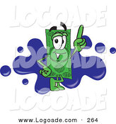 Logo of a Friendly Dollar Bill Mascot Cartoon Character Pointing Upwards and Standing in Front of a Blue Paint Splatter on a Business Logo by Toons4Biz
