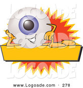 Logo of a Friendly Eye Mascot Cartoon Character on a Blank Yellow and Orange Label by Toons4Biz