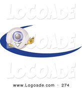 Logo of a Friendly Eyeball Mascot Cartoon Character Waving and Standing Behind a Blue Dash on an Employee Nametag or Business Logo by Toons4Biz