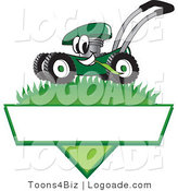 Logo of a Friendly Green Lawn Mower Mascot Cartoon Character Mowing Grass over a Blank White Label by Toons4Biz