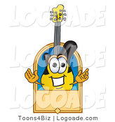 Logo of a Friendly Guitar Mascot Cartoon Character with a Blank Tan Label by Toons4Biz