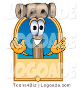 Logo of a Friendly Mallet Mascot Cartoon Character on a Tan Rectangular Logo by Toons4Biz