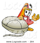 Logo of a Friendly Orange Traffic Cone Mascot Cartoon Character with a Computer Mouse by Toons4Biz
