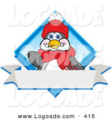 Logo of a Friendly Penguin Mascot Cartoon Character in Winter Clothing Waving on a Blue Logo with a Blank White Banner by Toons4Biz