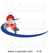 May 25th, 2013: Logo of a Friendly Penguin Mascot Cartoon Character Waving on a Blue Logo Dash Half Circle or Name Tag by Toons4Biz