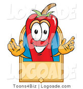 Logo of a Friendly Red Hot Chili Pepper Mascot Cartoon Character with a Blank Tan Label by Toons4Biz