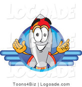Logo of a Friendly Rocket Mascot Cartoon Character Logo with Blue Lines by Toons4Biz