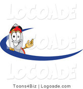 Logo of a Friendly Rocket Mascot Cartoon Character with a Blue Swish by Toons4Biz
