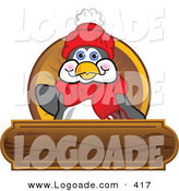 Logo of a Friendly Smiling Penguin Mascot Cartoon Character Waving on a Wooden Logo Plaque by Toons4Biz