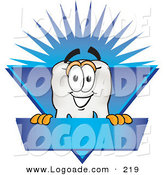 Logo of a Friendly Tooth Mascot Cartoon Character on a Blank Blue Business Label by Toons4Biz
