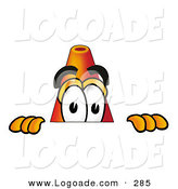 Logo of a Friendly Traffic Cone Mascot Cartoon Character Peeking over a Surface by Toons4Biz