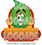 Logo of a Green Leaf Mascot Cartoon Character with a Red and Orange Autumn Label by Toons4Biz