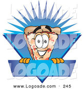 Logo of a Grinning Cheese Pizza Mascot Cartoon Character on a Blank Blue Label by Toons4Biz