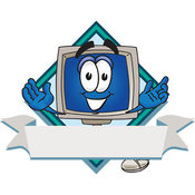 Logo of a Grinning Desktop Computer Mascot Cartoon Character on a Blank Label with a Blank Banner and Diamond by Toons4Biz