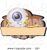 Logo of a Grinning Eyeball Mascot Cartoon Character on a Blank Brown and Tan Label by Toons4Biz