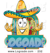 Logo of a Grinning Happy Taco Mascot Cartoon Character over a Blank Banner by Toons4Biz