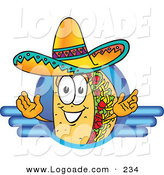 Logo of a Grinning Taco Mascot Cartoon Character on a Blank Blue Logo by Toons4Biz
