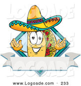 Logo of a Grinning Taco Mascot Cartoon Character over a Blank White Banner on a Label by Toons4Biz