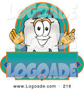 Logo of a Grinning Tooth Mascot Cartoon Character on a Rectangular Blank Label by Toons4Biz