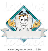 Logo of a Grinning White Tooth Mascot Cartoon Character over a Blank White Banner on a Logo by Toons4Biz