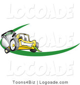 Logo of a Grinning Yellow Lawn Mower Mascot Cartoon Character Facing Front on a Logo or Nametag with a Green Dash by Toons4Biz