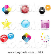Logo of a Group of Nine Colorful Pixelated, Burst, Cogs, Stars, Squares and Spiral Logo Icon Designs with Reflective Shadows by KJ Pargeter