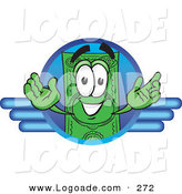 Logo of a Happy and Grinning Dollar Bill Mascot Cartoon Character on a Blue Business Logo by Toons4Biz