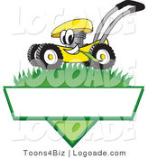 Logo of a Happy and Grinning Yellow Lawn Mower Mascot Cartoon Character Mowing Grass over a Blank White Label by Toons4Biz