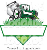 Logo of a Happy and Smiling Cute Green Lawn Mower Mascot Cartoon Character on a Logo by Toons4Biz