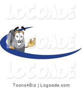 Logo of a Happy Black Rubber Tire Mascot Cartoon Character Logo with a Blue Dash by Toons4Biz