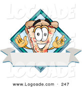 Logo of a Happy Cheese Pizza Mascot Cartoon Character over a Blank White Business Label Banner by Toons4Biz