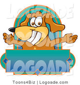 Logo of a Happy Dog with Open Arms Above a Blank Label by Toons4Biz