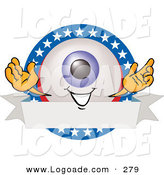 Logo of a Happy Eyeball Mascot Cartoon Character on a Blank American Themed Label by Toons4Biz