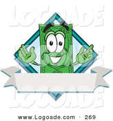Logo of a Happy Green Dollar Bill Mascot Cartoon Character over a Blank White Label by Toons4Biz