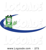 Logo of a Happy Green Dollar Bill Mascot Cartoon Character Waving and Standing Behind a Blue Dash on an Employee Nametag or Business Logo by Toons4Biz