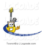 Logo of a Happy Guitar Mascot Cartoon Character Logo with a Blue Dash by Toons4Biz