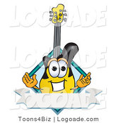 Logo of a Happy Guitar Mascot Cartoon Character with a Blank Label by Toons4Biz