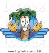 Logo of a Happy Palm Tree Mascot Cartoon Character on a Blue Travel Business Logo with Blue LInes by Toons4Biz