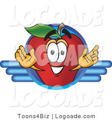 Logo of a Happy Red Apple Character Mascot Logo with Blue Lines by Toons4Biz