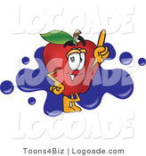 Logo of a Happy Red Apple Character Mascot Logo with Blue Paint Splatters by Toons4Biz